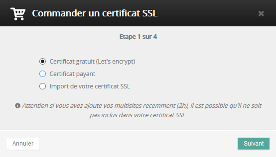 Commander certificat SSL